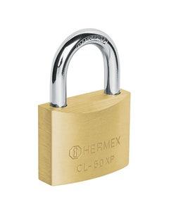 Candado Alta Seguridad Gancho Corto Laton 50mm Llave Tetra Hermex Clp-50x